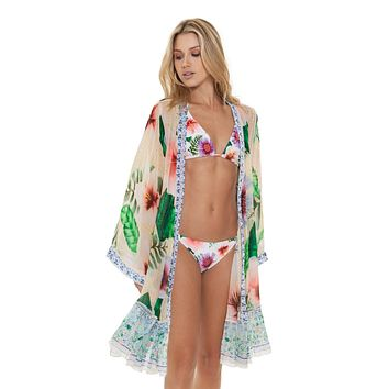 Agua Bendita Hazel Pastel Tropic Tunic Beach Dress Resort Wear