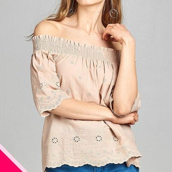 Crochet Eyelet Off Shoulder Top