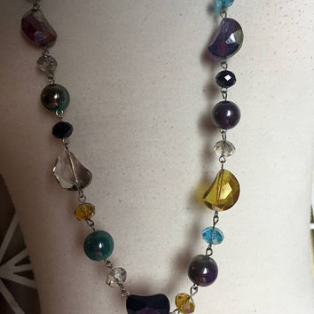 SALE - Swarovski Crystal Necklace - prom - multi-colored necklace - AB crystals - long crystal necklace - rainbow necklace - troppobella
