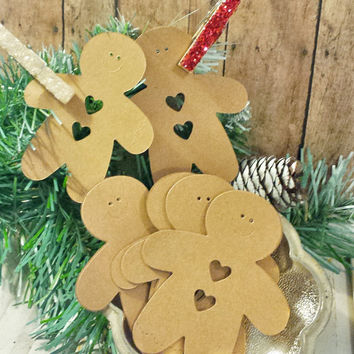 Kraft Gingerbread Man Die Cuts, Set of 15, Holiday Crafts, Christmas Gift Tags, Card Stock, Kids Projects, Package Embellishments, Labels