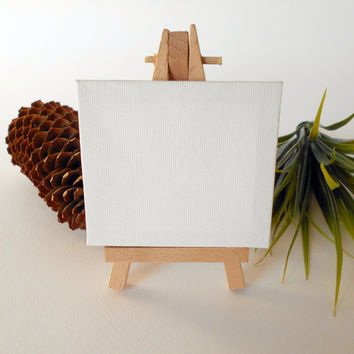Mini blank cotton canvas stretched on solid wood frame made with acrylic gesso- small canvas art supply with mini easel
