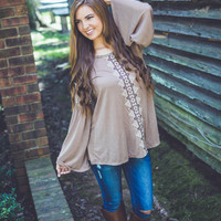 Bohemian Gauze Top in Beige
