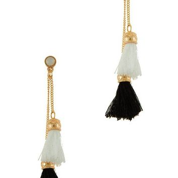 FIRENZE FRINGE TASSEL EARRINGS - BLACK + WHITE