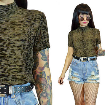 vintage 90s mock neck tshirt slinky bodycon grunge 1990s top new wave cyber grunge industrial Small