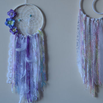 Flower Lavander Dream catcher, Lace Dream catcher, Turquoise Stone,  Boho Gypsy Dreamcatcher, Wall Hanging Dream catcher Mobile