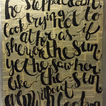 Hand Lettered Quote Art Anna Karenina Leo Tolstoy Canvas Quote Art Wall Hanging Book Page Collage Wall Art Lettering Wall Decor Like the Sun