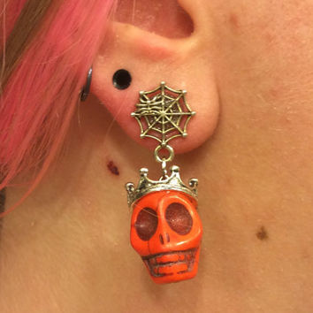 1/2 7/16 00g 0g 2g 4g 1 PAIR Orange Plugs Halloween Día de Muertos Day Of The Dead - Carved Howlite Sugar Skull Plugs