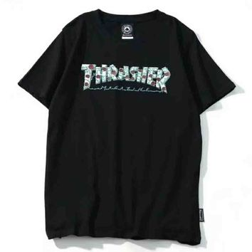 Thrasher New Fashion letter Print Short Sleeve Top T-shirt Black