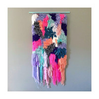 Woven wall hanging / Furry Electric & Melting Blueberry Fields Handwoven Tapestry Weaving Fiber Art - Woven Wall Art Jujujust