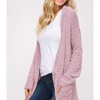 Women Popcorn Open Cardigan