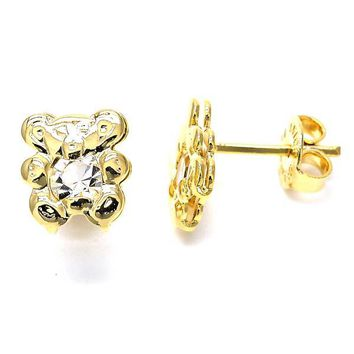 Gold Layered 02.09.0093 Stud Earring, Teddy Bear Design, with White Cubic Zirconia, Polished Finish, Gold Tone