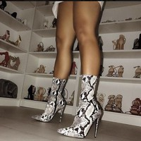 Sexy High Heels Snake Print Ankle Boots