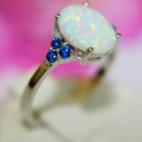 Genuine SOLID .925 STERLING SILVER~Lab White Fire Opal Rg
