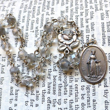 St. Dymphna Chaplet - Saint Chaplet, Catholic, Gray and Clear Faceted Czech Glass Beads