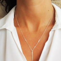 Flat Modern Bar Necklace - Christine Elizabeth Jewelry™