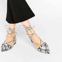 ASOS LOCKET Lace Up Pointed Ballet Flats