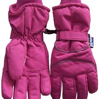 N'Ice Caps Girls 8-12 Years Reflector Piped Thinsulate and Waterproof Ski Glove