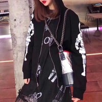 """Chanel"" Unisex Casual Fashion Personality Robot Long Sleeve Zip Cardigan Hooded Coat"