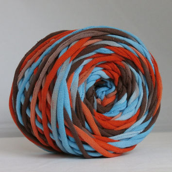 T-Shirt Yarn Hand Dyed Southwest-Red Orange, Aqua, Dark Brown 60 Yards