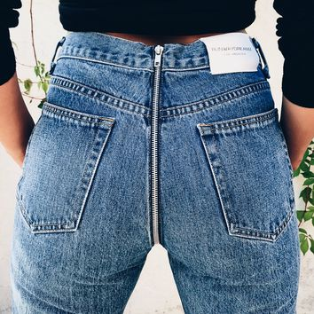 Zipper Back Ripped Blue Jeans