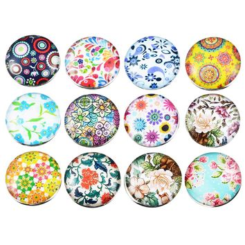 12PCs Fixed Mixed Printing Flower Pattern Glass Metal DIY Snap Buttons 18mm For Snap Bracelets DIY Findings For Gifts