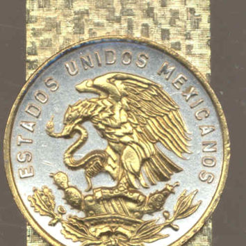 Gorgeous 2-Toned Gold on Silver Mexican Eagle, Half dollar size Coin - Money clips