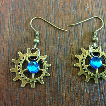 Steampunk Rhinestone Sapphire Earrings