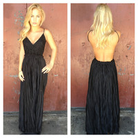 Black Low Back Embroider Maxi Dress