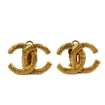 ONETOW Chanel Gold CC Clip On Earrings