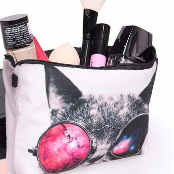 Cosmic Kitty Cosmetic Zipper Bag