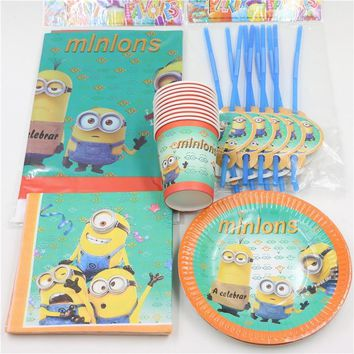 57pcs/lot children birthday party supplies minions disposable cups plates saucers drinking straws map for kids boy girl 12people