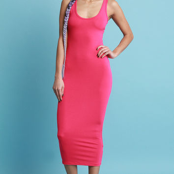 Scoop Neck Jersey Knit Midi Dress | UrbanOG