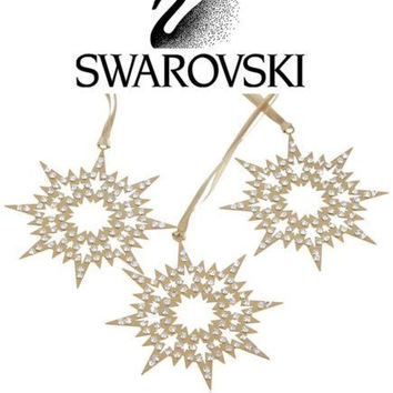 Swarovski SET 0F 3 Signed Crystal GOLD PIXEL STAR ORNAMENTS #1135182 New
