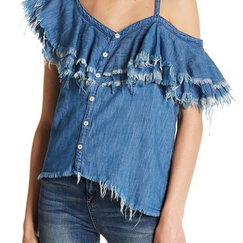 BLANKNYC | Frayed One-Shoulder Ruffle Blouse | Nordstrom Rack