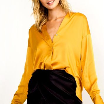 Smooth Choice Satin V Neck Long Dolman Sleeve Button Front Blouse Top - 4 Colors Available