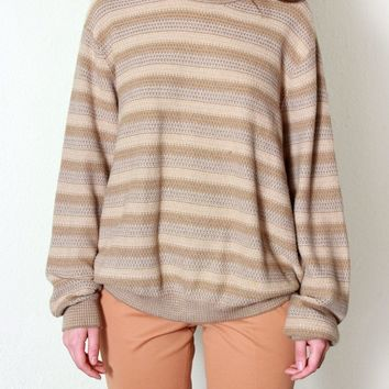 Oversized Brown Striped Sweater / M L