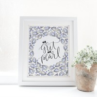 No Grit No Pearl Oyster Typography Art Print