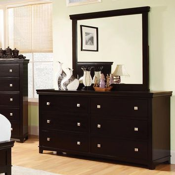 Pebble Rattling Spacious Dresser, Contemporary Style, Espresso
