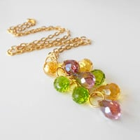 Beaded Necklace Faceted Drops Jewel Tones Tassle Necklace Glass Bead Jewelry Honey Peridot Amethyst Teardrop Cluster Pendant in Gold