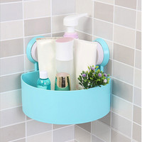 New Arrival Sucker Corner Shelf Bathroom Kitchen ABS+PVC Storage Orgnazation Rack 4 Colors Bathroom Shelf