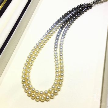 7.5-8 mm Multiple Pearls Gradient Ombre Necklace - AAAA