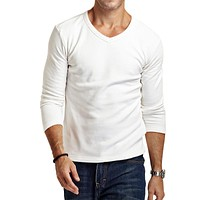autumn  winter Men's hoodies men fit t-shirts thermal underwear t shirt casual   cotton  male basic shirt