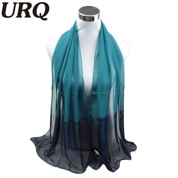 silk scarf ombre Wrap Solid Colored Scarves Foulard Chiffon Hijab Luxury Brand Scarf Bufandas Cape Head Scarves 2016 URQ