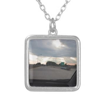 Beams of Sunlight over the Highway Silver Plated Necklace