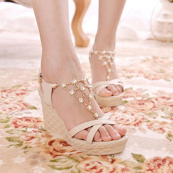 Hot crystal chain beads women wedge sandals with platform high heel sandals for lady = 1946814852