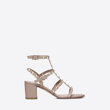 Rockstud 60mm block heel cage Sandal for Woman | Valentino Online Boutique