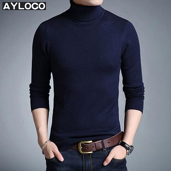 High Quality New 2017 Autumn Winter Youth Fashion Turtleneck Sweater Men Knitted Sweater High Elastic Mens Sweaters And Pullover