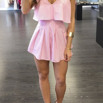 Pink Vertical Stripe Strappy Romper