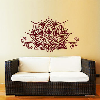 Lotus Flower Wall Decal Yoga Studio Vinyl Sticker Decals Mandala Ornament Moroccan Pattern Namaste Home Decor Boho Bohemian Art