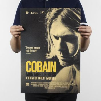 Free shipping,Kurt Cobain D/Nirvana frontman/rock music poster/kraft paper/bar poster/Retro Poster/decorative painting 51x35.5cm